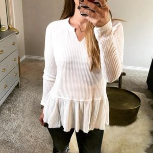 Sweaters - White thermal knit layered long sleeve sweater top